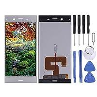 携帯電話の交換部品 ソニーXperia XZ1用LCDスクリーンとデジタイザフルアセンブリ (色 : 銀)