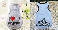 オジーのしっぽ 犬の服 Tシャツ 2枚セット S~X L サイズ 春服 夏服 グレー系 (L)