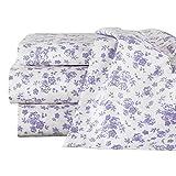 Collections Etc ラベンダー 全面花柄デザインシーツセット - フラットシーツ、ボックスシーツ、花柄枕カバー2枚、ホワイト枕カバー2枚 フル パープル 46311 LAVN FULL