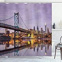 アパートの装飾コレクション、ベンフランクリンブリッジ、フィラデルフィアのスカイライン、水の画像、ポリエステル生地のバスルームシャワーカーテンフック、グレーアイボリーセットの夕日の反射の下で 200X180 CM