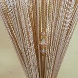 (タンパン)Tangpan 100cmx200cm 装飾的な文字列輝くダイヤモンド ビーズ フリンジ ドアカーテン 部屋仕切りドア パネル シャンパン