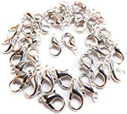 BEAUTY PLAYER Lobster Claw Clasp, Silver, 100 Piece Set, 0.6 inches (14 mm), Eyeglass Chain, Mask Chain, Glass