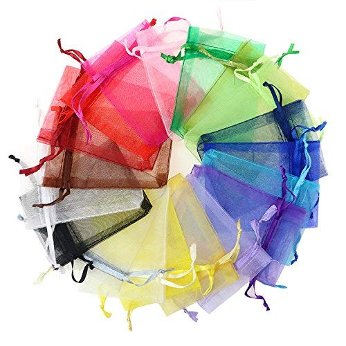 smallHANDマルチカラー かわいい カラフル 巾着袋 ジュエリーポーチ ギフトバッグ 無地 オーガンザ袋 100枚...