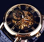 Quner Forsining 3D Logo Design Hollow Engraving Black Gold Case Leather Skeleton Mechanical Watches