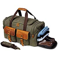 Kemy's Canvas Duffle Bag Mens Oversized Weekender Overnight Bags for Traveling