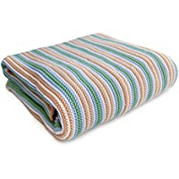 SonnenStrick 100% Organic Cotton Knitted Baby Blanket (Striped) Made in Germany (Green Striped) by SonnenStrick