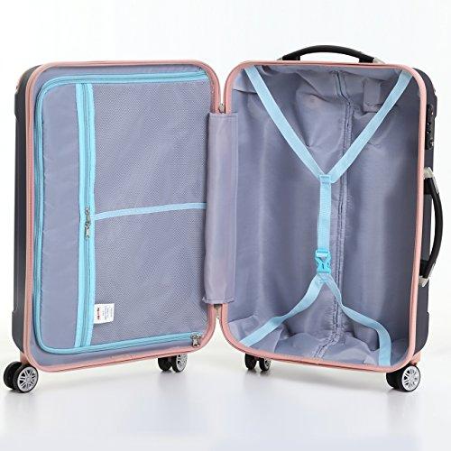 (ムーク)M∞K 超軽量スーツケース TSAロック付き 機内持ち込みSサイズ~Lサイズ (Mサイズ,ネイビー)