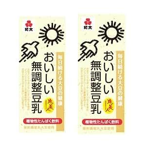 紀文 おいしい無調整豆乳 200ml 60本セット(30本入×2)常温保存可能
