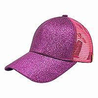 XWBJP キャップ メッシュ レディース ホーステイル帽子 野球帽 ベースボールキャップ ゴルフ帽 無地 ブラック シンプル おしゃれ アウトドア 旅行 紫外線防護 通気性 ピカピカ キラキラ 夏