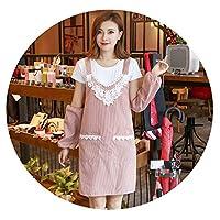 韓国のファッションエプロン防水キッチン防油ネイルショップミルクティーショップコーヒーショップビューティーサロンオーバーオール女性二重層,ファインチェック柄(フロントベンド)レッドプラススリーブ