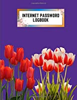 internet password logbook: 8.5x11 cute internet password book | cool internet password logbook paper with page numbers | internet password logbook | internet password notebook journal paper | tulip flower plant nature royal purple color