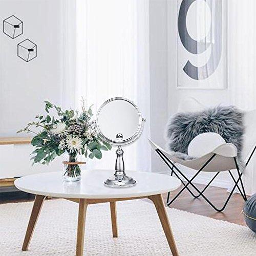 (セーディコ)Cerdeco 北欧デザイン 真実の両面鏡DX 10倍拡大 360度回転 卓上鏡 スタンドミラー メイク 化粧道具 円型 鏡面175mmΦ J727-10x