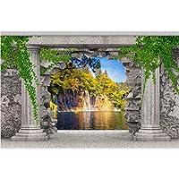Wuyyii カスタム壁紙ローマン列壁穴滝風景3Dリビングルームの寝室のテレビの背景Papel De Parede 3D-150X120Cm