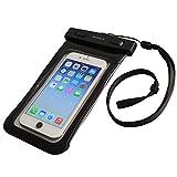 オウルテック 防水・防塵ケース もしもの時でも安心メーカー保証 ドライバッグ 両面透明 海/釣り/お風呂 iPhone 6s/6sPlus等対応 最高級保護レベルIP68取得 ネックストラップ付 ブラック  OWL-MAWP03(BK)