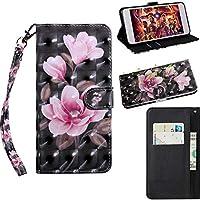 Samsung Galaxy S7 Edge 財布 シェル,Moonmini スタイリッシュ スリム PU レザー 保護シェル 立つ 且つ カード ホルダー 財布 電話 カバー アクセサリー 保護 シェル の Samsung Galaxy S7 Edge -Pink Flower