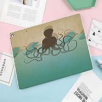 iPad Pro 10.5 ケーススタンド機能10.5インチ iPad Pro 保護カバー シンプル 二つ折タイプ 全面保護型 傷つけ防止 iPad Pro10.5手帳型ケース PU New iPad Pro 10.5 Case(iPad Pro 10.5)ビンテージスタイルの海洋の背景と波の触手とタコ海の野生生物プリント