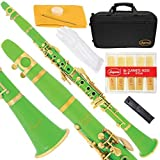 Lazarro 160-GR-L B-Flat Bb Clarinet Green Gold Keys with Case 11 Reeds Care Kit and Many Extras [並行輸入品]