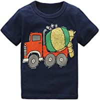 HowJoJo Boys Long Sleeve Cotton T-Shirts Bulldozer Shirt Graphic Tees