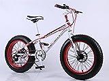 自転車 20インチ ファットバイク シマノ SHIMANO 変速機使用 21速 悪路 雪道 ビーチ 極太タイヤ サイクリング街乗り (ホワイト+レッド)