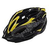 ヘルメット, JSZ ファッション スポーツ バイク 自転車 サイクリングヘルメットと取り外し可能なバイザー炭素繊維 ユニセックス 大人 (イエロー)
