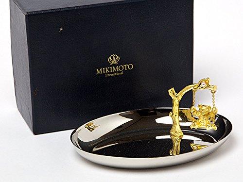 MIKIMOTOミキモトインターナショナル 真珠の小粒付ゴールドベアー&シルバートレー