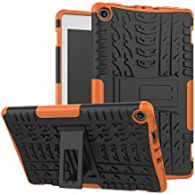 Maomi Amazon fire HD 8 inch 2017/2018 Case,[Kickstand Feature],Shock-Absorption/High Impact Resistant Heavy Duty Armor Defender Case for Kindle fire hd 8 7th/8th (Orange)