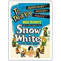 "Walt Disney 's Snowホワイトand the Seven Dwarfs–To Thrill You Merriment 。Melody 。マジック。–ヴィンテージ映画ムービーポスターc.1937–Fineアートプリント 12"" x 16"" Premium Giclée APPB3940"