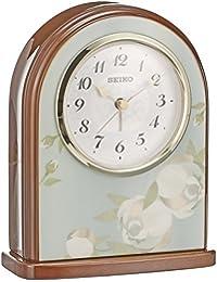 セイコー クロック 置き時計 アナログ アラーム 木枠 薄青花柄模様 茶 木地 QK736L SEIKO