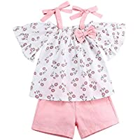 Toddler Baby Girls Clothes Ruffle Cami Top Bowknot White Lace Tank Top Striped Short Pants Summer Outfit Set for Girls Kids