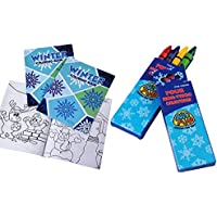 冬クレヨン( 12個) &カラーリングブックキット( 12個) for Kids |クリスマスおもちゃ、パーティーFavors GoodyバッグFillers、冬ブック、