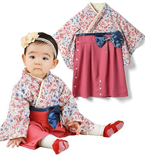 641320d5c22db Sweet Mommy 袴 ロンパース ベビー 着物 カバーオール 日本製和柄ちりめん さくらホワイト 50~70