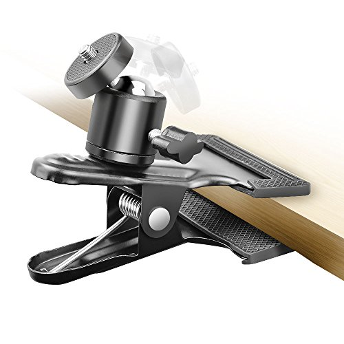 UTEBIT クリップ 自由雲台 VIVE / ライトスタンド / スポーツカメラ / ボールヘッド 用 360度 雲台 クリップ 強力 アルミ製 カメラ ホルダー 最大荷重3KG 万能クリップ 挟み込み範囲55mm以下 どこでも挟める雲台