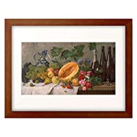 Jernberg, August,1826-1896 「Still life with grapes, pears, apples and melon, as well as a bottle of wine.」 額装アート作品