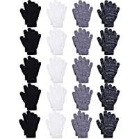 Cooraby 20 Pairs Kids Winter Gloves Knitted Magic Full Finger Gloves for Kids Boys Girls