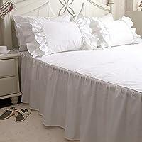 ベッドスカート 綿100% シンプルなデザイン ホワイト (シングル)