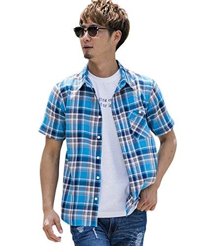 (アドミックス アトリエサブメン) ADMIX ATELIER SAB MEN メンズ シャツ 半袖 綿麻ワッフルチェック半袖レギュラーシャツ 02-04-8591 48(M) ブルー(40)