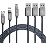 USB Type C Cable, [3-Pack] vodool 3.3ft+6.6ft+10ft Premium Nylon Braided High Speed USB 2.0 Fast Charging Cord for Samsung Galaxy S8 / S8 Plus/Note 8, LG G6 / G5, Google Pixel/Pixel XL and More.