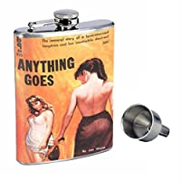 Anything Goes LesbianパルプPerfection inスタイル8オンスステンレススチールWhiskey Flask with Free Funnel d-117