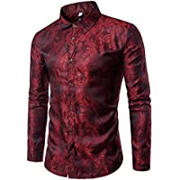 Cloudstyle Mens Paisley Shirt Long Sleeve Dress Shirt Button Down Casual Slim Fit (Red, XXX-Large)