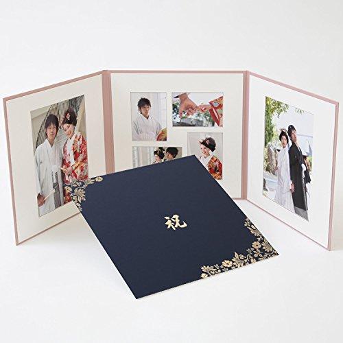 写真台紙 3面 アルバム 6切2枚+L判4枚 花柄 紺 ロゴ...