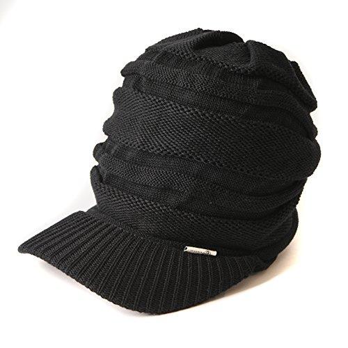 CHARM つば付き ニット帽 [ フリーサイズ/ブラック ] ニットキャスケット 帽子 コットン オールシーズン対応