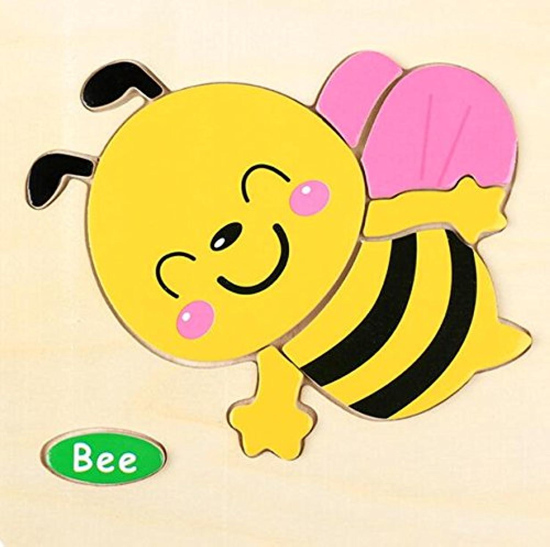 HuaQingPiJu-JP 子供のための素敵な木製の就学前の蜂の認知ボード教育パズル