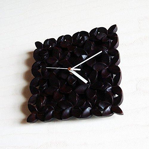 バリウッド・アジアン・バリ木彫り・時計:プルメリア(フランジパニ)いっぱいの壁掛け時計。ダークブラウン[オリジナル品]