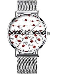 ミニマリストファッションクォーツ腕時計エリート超薄型防水スポーツ時計メッシュバンドと日付 012.完全なレディバグ