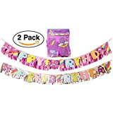 ユニコーン/レインボーHappy誕生日パーティーバナーSign装飾用(2パック) 6.5フィート、1パープル、1文字でシルバーフリンジ