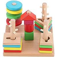 everpertカラフルな木製Buildingブロック列Babyジオメトリ認識機能Matching Toys
