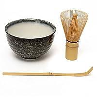 (Mountain) - Katoot@ 3Pcs/Lot Bamboo Chasen Matcha Whisk Chashaku Tea Scoop Matcha Bowl Ceramic Tea Bowl Kitchen Tea Tools Tea Accessories Drinkware (Mountain)