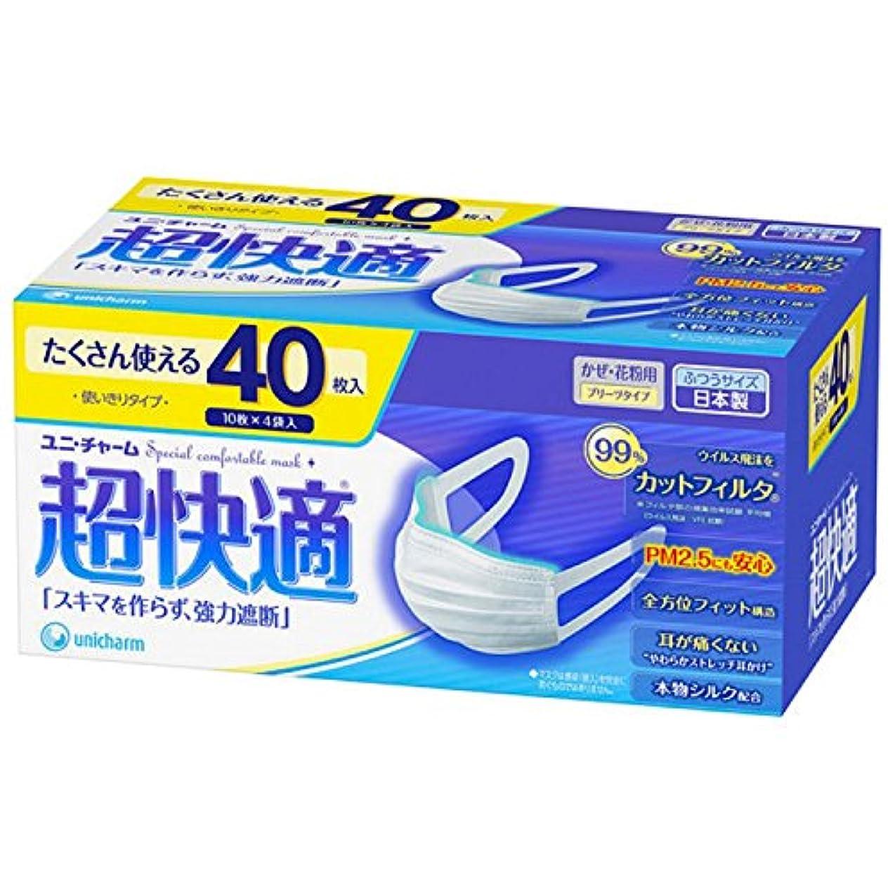 悪行余裕がある暴露ユニ?チャーム 超快適マスクプリーツタイプふつうサイズ 3層式 1箱(40枚入)2箱セット 日本製 PM2.5対応