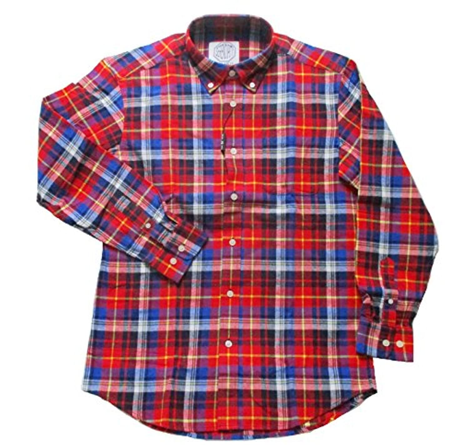 クッション評価するスリーブ(フェアヴァリュー)FAIRVALUE  ネルシャツ 長袖 ボタンダウンシャツ 綿100% (3L, レッド)