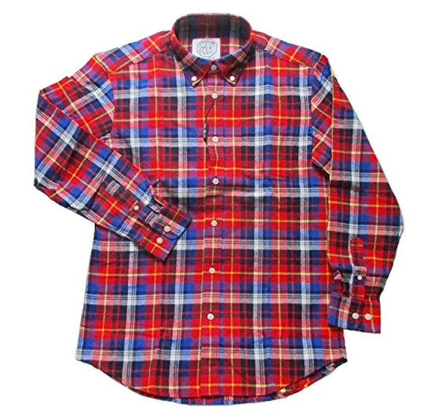 面白い砂利キノコ(フェアヴァリュー)FAIRVALUE  ネルシャツ 長袖 ボタンダウンシャツ 綿100% (LL, レッド)